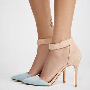 Nude/Light Blue Suede Heels